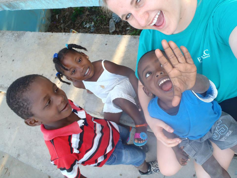 Emilie and local children getting some camera action.